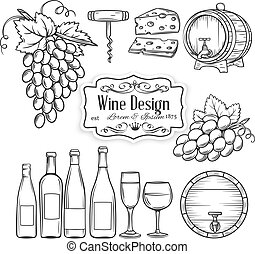 vector hand draw wine icons set on white