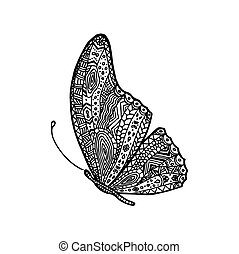 Vector hand drawing butterfly. Coloring page book for adult