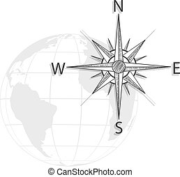 Vector hand drawing compass on the globe, map - black, grey...