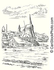 Vector hand drawing Illustration of watermill in Amsterdam (Netherlands, Holland). Landmark of Holland. Vector hand drawing illustration in black color isolated on white background.
