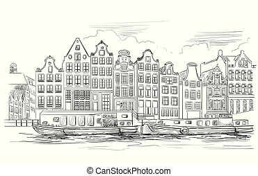 Houses on riverbank. Canal of Amsterdam, Netherlands. Landmark of Netherlands. Vector hand drawing illustration in black color isolated on white background.