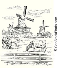 Vector hand drawing Illustration of watermill in Amsterdam (Netherlands, Holland). Landmark of Holland. Watermill and cows grazing on the meadow. Vector hand drawing illustration in black color isolated on white background.