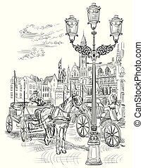 Vector hand drawing Holland 9 - View on Grote Markt square ...