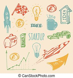 Vector hand drawing illustration set of different startup elements.