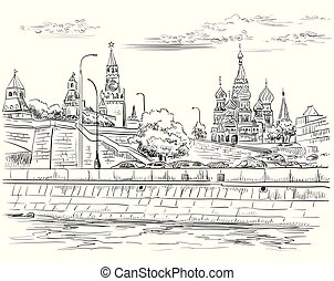 Vector hand drawing Moscow-4