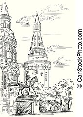 Cityscape of Kremlin tower, State Historical Museum and Monument to Marshal Zhukov (Red Square, Moscow, Russia) isolated vector hand drawing illustration in black color on white background