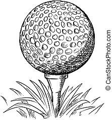 Vector Hand Drawing of Golf Ball on Tee