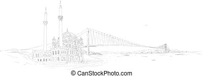 vector hand drawing panoramic istanbul ortakoy mosque and bosphorus bridge