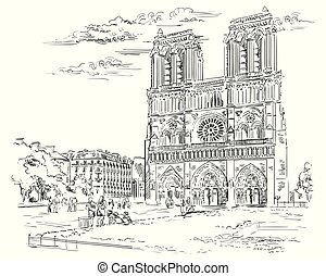 Vector hand drawing Illustration of Notre Dame Cathedral (Paris, France). Landmark of Paris. Cityscape with Notre Dame Cathedral. Vector hand drawing illustration in black color isolated on white background.