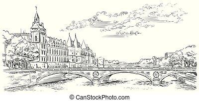Vector hand drawing Paris 5