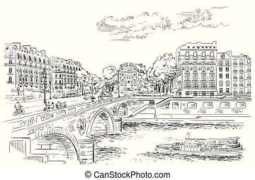 Vector hand drawing Paris 7