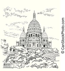 Vector hand drawing Paris 9