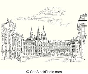 Vector hand drawing Illustration of Hradcany square. The Central gate of the Hradcany Castle. Landmark of Prague, Czech Republic. Vector illustration in black color isolated on white background.