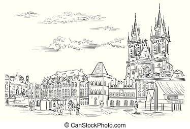 Vector hand drawing Illustration. Cityscape of Old Town Square and Tyn Church. Landmark of Prague, Czech Republic. Vector illustration in black color isolated on white background.