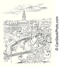 Vector hand drawing Illustration of panoramic cityscape of Cesky Krumlov. Aerial View on roofs, castle and river. Landmark of Czech Republic. Vector illustration in black color isolated on white background.