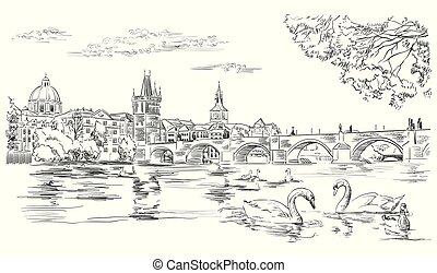 Vector hand drawing Illustration Cityscape of Charles Bridge and swans in Vltava river in Prague. Landmark of Prague, Czech Republic. Vector illustration in black color isolated on white background.