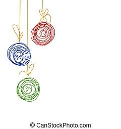 Vector hand drawing sketch Christmas tree balls. Illustration of Christmas greeting invitation card from three Christmas balls