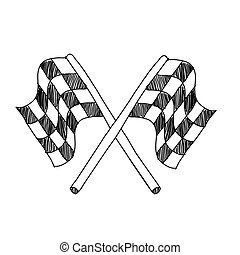 vector hand drawing sketch final race flag