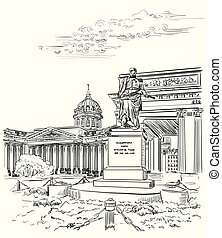 Cityscape of Kazan Cathedral in St. Petersburg, Russia and monument to Barclay de Tolly. Isolated vector hand drawing illustration in black color on white background