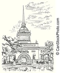 Cityscape of Admiralty building, Saint Petersburg, Russia. Front view of old Admiralty building from Garden. Isolated vector hand drawing illustration in black color on white background