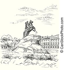 Cityscape of Monument of Russian emperor Peter the Great on Senate square, Saint Petersburg, Russia. View on bronze horseman monument and Senate. Isolated vector hand drawing illustration in black color on white background
