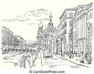 Cityscape of Church of the Savior on Blood in Saint Petersburg, Russia and embankment of river. Isolated vector hand drawing illustration in black color on white background.