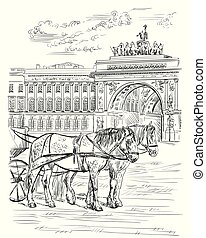 View on two horses and carriages, The Arch of Triumph on Palace Square in Saint Petersburg; Russia. Landmark of Saint Petersburg. Isolated vector hand drawing illustration in black color on white background.