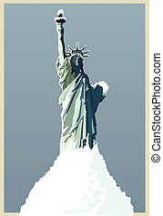 vector hand drawing statue of liberty new york under snow