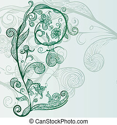 vector hand drawn abstract flowers, snail, butterfly