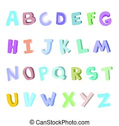 Vector hand-drawn alphabet, font, letters. 3D doodle ABC for kids.