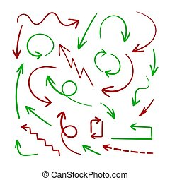 Vector Hand Drawn Arrows, Design Element Set, Red and Green Colorful Arrows, Isolated.