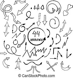 vector hand drawn arrows icons set isolated on white background.