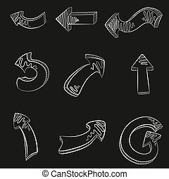 Vector hand drawn arrows icons set.