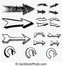 vector hand drawn arrows icons set