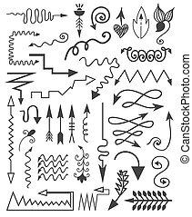 Vector hand drawn arrows.