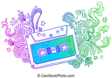 Vector hand drawn audio cassette with line art decor