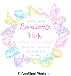 vector hand drawn bachelorette party invitation card with funny panties and bra