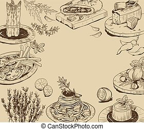 hand drawn background with food elements