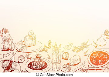 hand drawn background with Mediterranean food