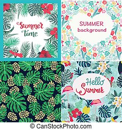 Set of background tropical flowers hibiscus, monstera, palm leaves