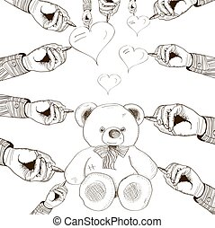 vector hand drawn bear with heart