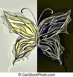 vector hand drawn beautiful butterfly,  vintage style