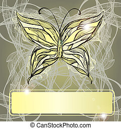 vector hand drawn beautiful butterfly, vintage style, frame for your text, eps 10