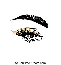 Vector Hand drawn beautiful female eye with long black eyelashes, golden eyeshadow and brows.