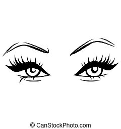 Vector Hand drawn beautiful female eyes with long black eyelashes and brows.