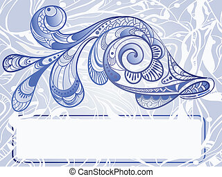 vector hand drawn beautiful fish on abstract background, vintage style, frame for your text