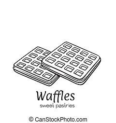 Vector hand drawn belgian waffles dessert icon badge for...