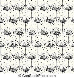 Vector Hand drawn black dandelion seamless pattern.