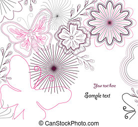 vector, hand-drawn, bloem, butterfly.