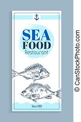 Vector Hand Drawn Bream or Bass Seafood Banner Set - Bass or...